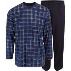 Ambassador pijama jersey - a cuadros azul