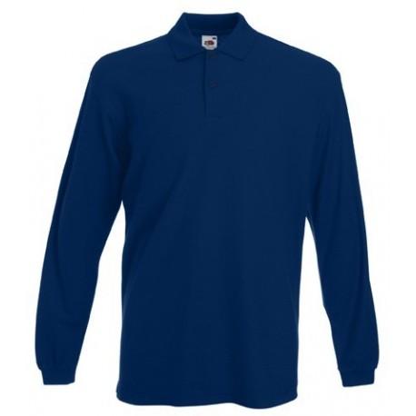 Camisa de polo azul marino de manga larga de Fruit of the Loom ... a34128b5aad25