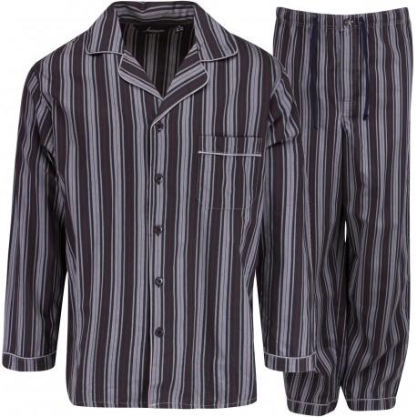 Ambassador pijama de franela - Negro / Gris